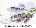 bowl of lavender bath caviar... | Shutterstock . vector #34605403
