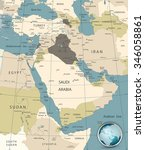 middle east and west asia map... | Shutterstock .eps vector #346058861