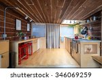 rustic kitchen in a bright... | Shutterstock . vector #346069259