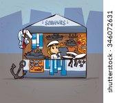 girl souvenir seller in naval... | Shutterstock .eps vector #346072631