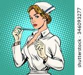 high temperature disease nurse... | Shutterstock .eps vector #346093277
