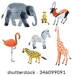 Safari Animals. Watercolor...