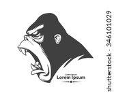 angry gorilla head  profile... | Shutterstock .eps vector #346101029
