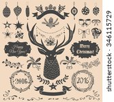 vector hand drawn set of... | Shutterstock .eps vector #346115729