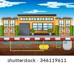 water pipe running under the... | Shutterstock .eps vector #346119611