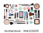 makeup cosmetics and brushes on ... | Shutterstock . vector #346122035