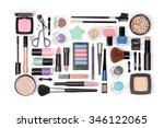 makeup cosmetics and brushes on ... | Shutterstock . vector #346122065