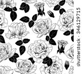 black and white roses vector... | Shutterstock .eps vector #346129715