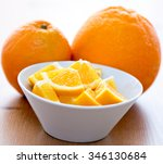 couple of orange slices in a... | Shutterstock . vector #346130684