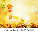 pile of autumn leaves on nature ... | Shutterstock . vector #346136345