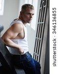 attractive brutal man model in... | Shutterstock . vector #346136855