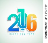 stylish colorful text 2016 on... | Shutterstock .eps vector #346140749