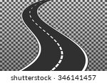 curved road with white markings....