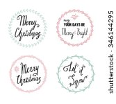 hand drawn christmas frames and ... | Shutterstock .eps vector #346144295