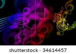 colourful music notes on a... | Shutterstock . vector #34614457