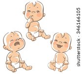 Set Of Baby Emotion Icons....