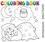 coloring book sleeping bear... | Shutterstock .eps vector #346174205