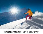 Girl telemark skiing snow slope in mountains