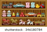 Shop Of Vintage Toys. Vector...