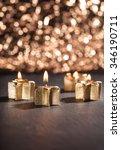 four golden candles lit for... | Shutterstock . vector #346190711