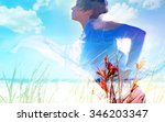 woman in touch with nature  ... | Shutterstock . vector #346203347