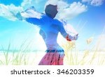 woman in touch with nature  ... | Shutterstock . vector #346203359