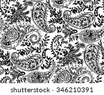 black and white paisley... | Shutterstock .eps vector #346210391