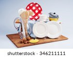 table setting with plates  cups ... | Shutterstock . vector #346211111