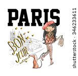 shopping girl with dog and paris | Shutterstock .eps vector #346233611