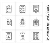 set line icons of checklist... | Shutterstock .eps vector #346241069