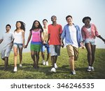group friends outdoors holding... | Shutterstock . vector #346246535