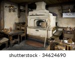 Russian Stove. Interior Of Old...