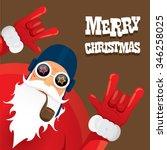 vector rock n roll santa claus... | Shutterstock .eps vector #346258025