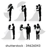set of vector silhouettes of a... | Shutterstock .eps vector #34626043