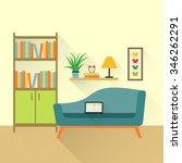 flat retro interior living room ... | Shutterstock .eps vector #346262291