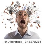 stressed businessman with... | Shutterstock . vector #346270295