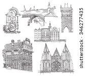 prague.  vector sketch old town.... | Shutterstock .eps vector #346277435
