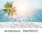 white sand beach on coconut... | Shutterstock . vector #346296515