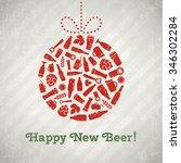vector christmas ball beer... | Shutterstock .eps vector #346302284