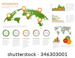 world map with infographics... | Shutterstock . vector #346303001
