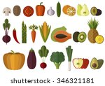 big vegetables and fruits set.... | Shutterstock .eps vector #346321181