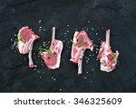 Raw Lamb Chops. Rack Of Lamb...