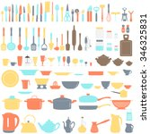 set of kitchen utensils  vector ... | Shutterstock .eps vector #346325831