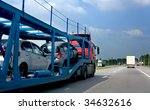 the trailer transports cars on... | Shutterstock . vector #34632616