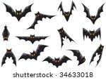 vector   13 bats. each design... | Shutterstock .eps vector #34633018