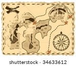 old sea map of the island of... | Shutterstock .eps vector #34633612