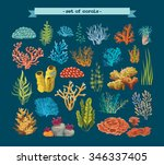 Set Of Colorful Corals And...