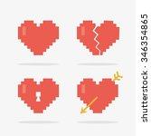 8 bit heart icons set in vector | Shutterstock .eps vector #346354865