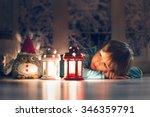 beautiful little boy  lying... | Shutterstock . vector #346359791