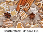 christmas gingerbread on wooden ... | Shutterstock . vector #346361111